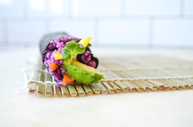 Take a peek at this gorgeous rainbow rolled sushi (it's paleo AND vegan)