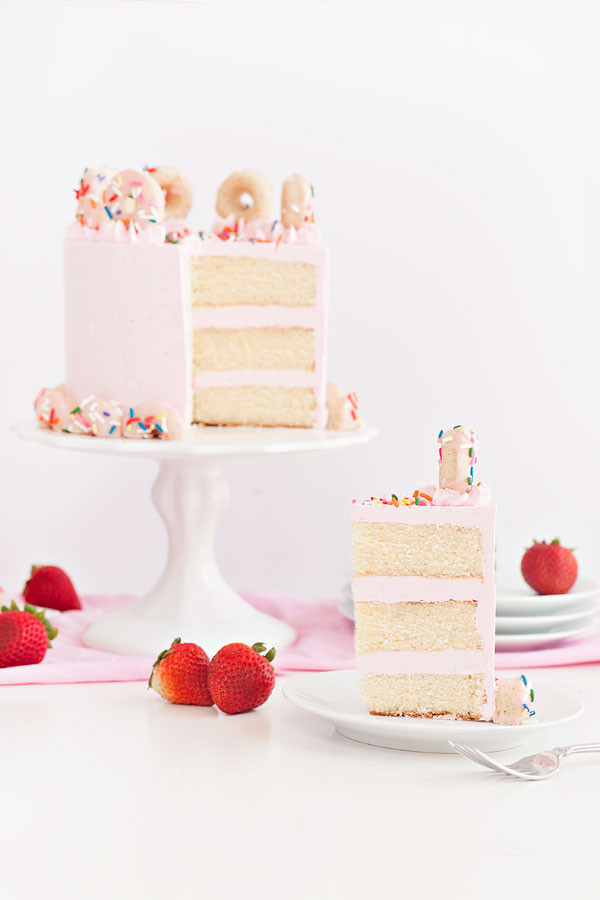 Strawberry Buttermilk Doughnut Cake via Sprinkles for Breakfast on LaurenConrad.com