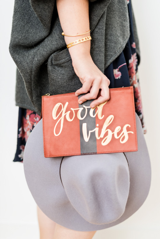 Make this cute 'Good Vibes' clutch via the link in Lauren's Friday Faves