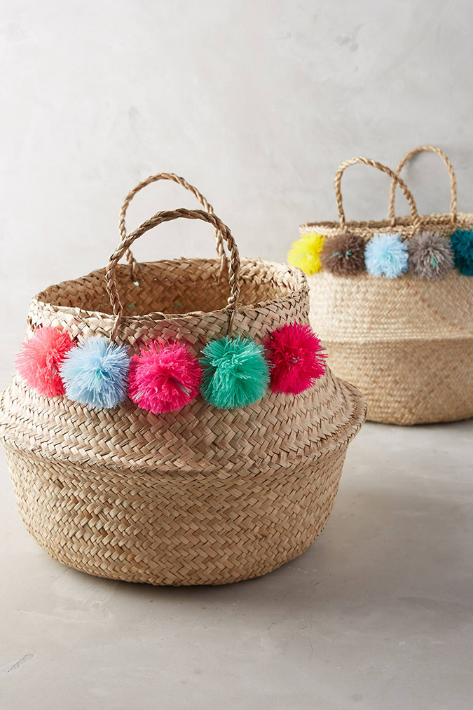 See these woven pom pom baskets and the rest of Lauren's favorites from this week