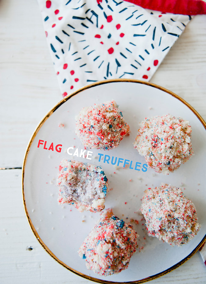 Get the recipe for these patriotic flag cake truffles