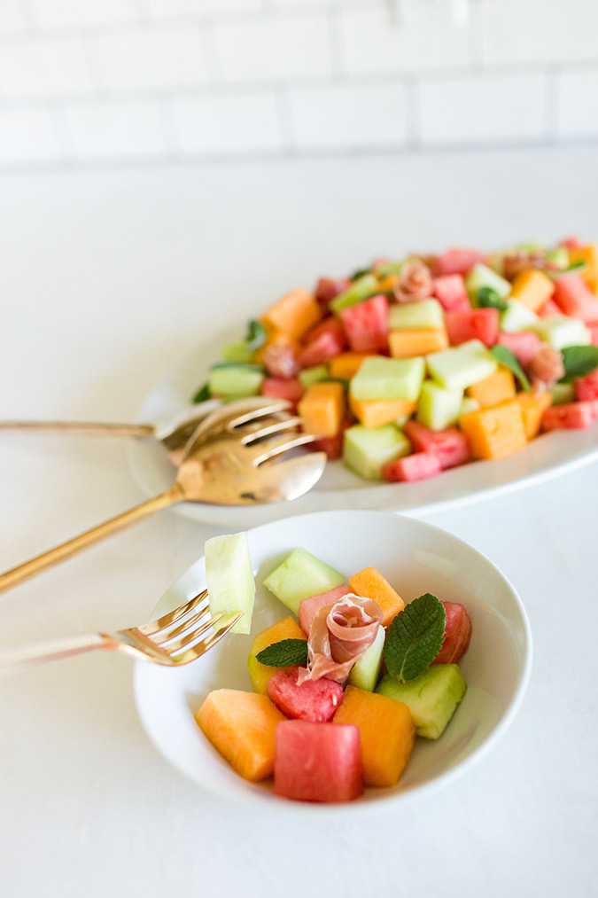 Cubed melon and prosciutto salad recipe on LaurenConrad.com