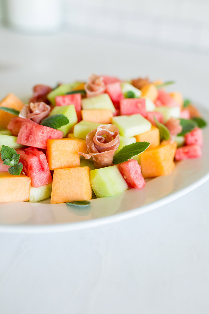 Summer melon and prosciutto salad