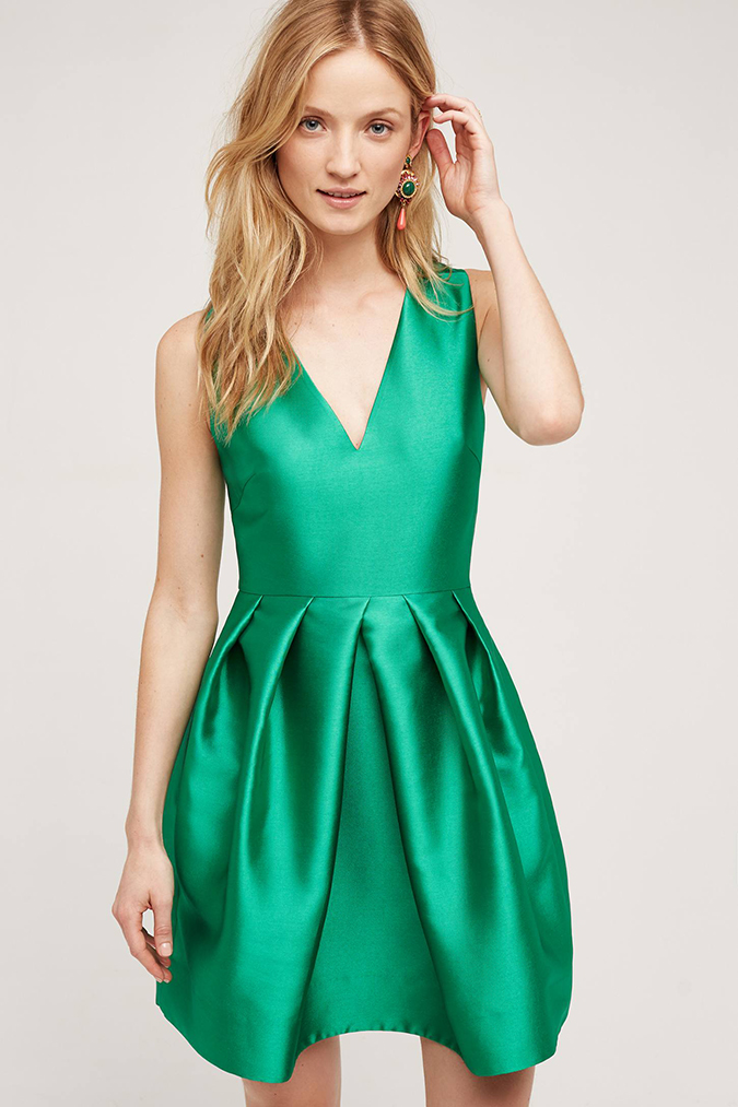 Anthropologie emerald green party dress