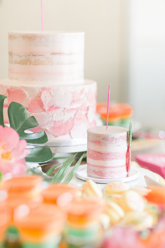 tropical themed birthday party with watercolor cakes