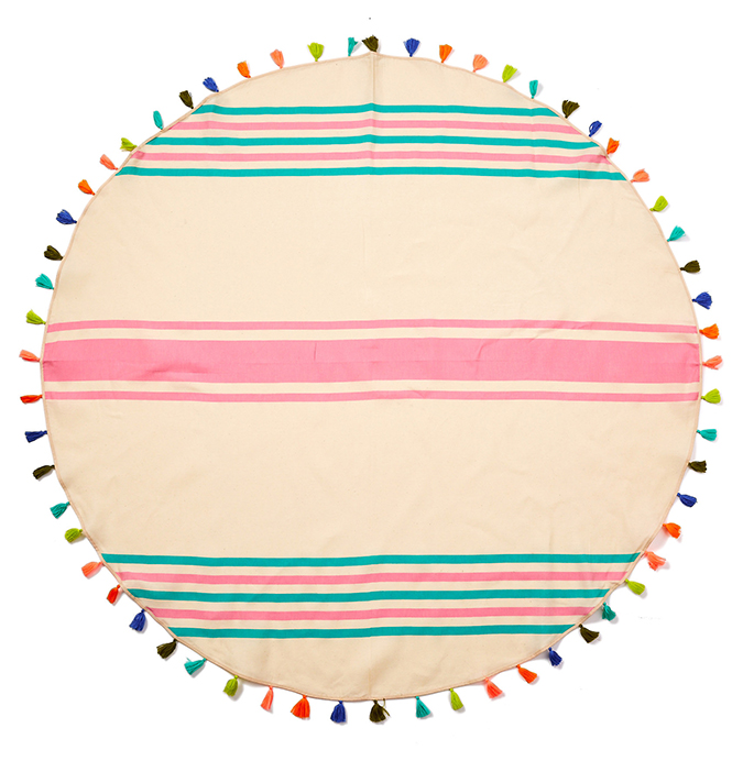 Favorite beach accessory: round tassel-trimmed beach blanket