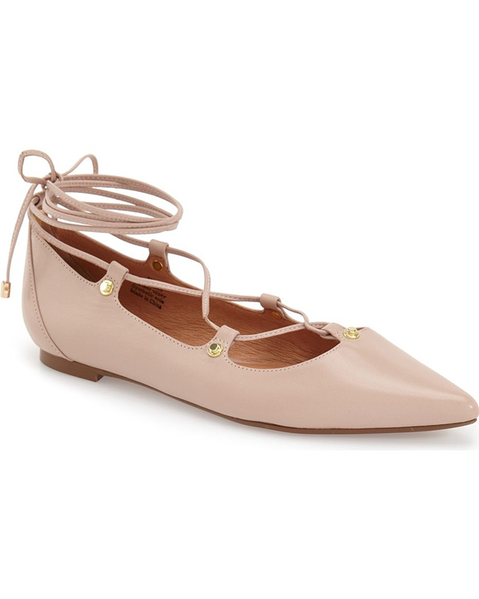 What better addition to your wardrobe than a pair of blush lace up flats?