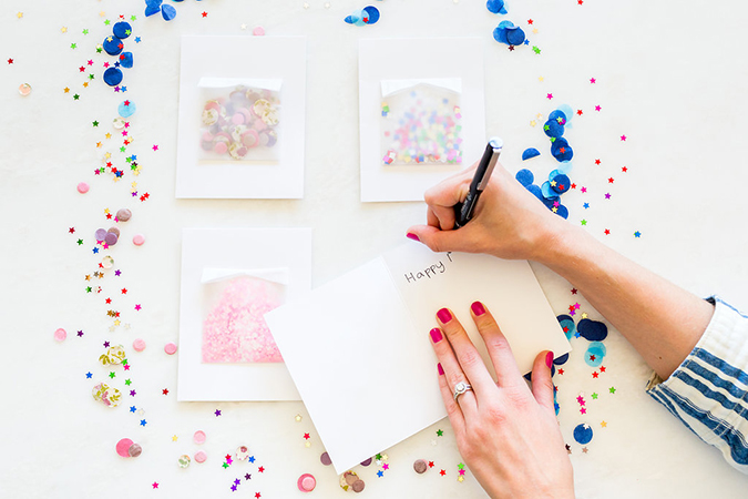 DIY confetti birthday cards on LaurenConrad.com