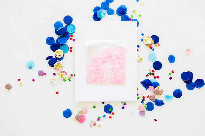 DIY confetti birthday card how-to on the blog