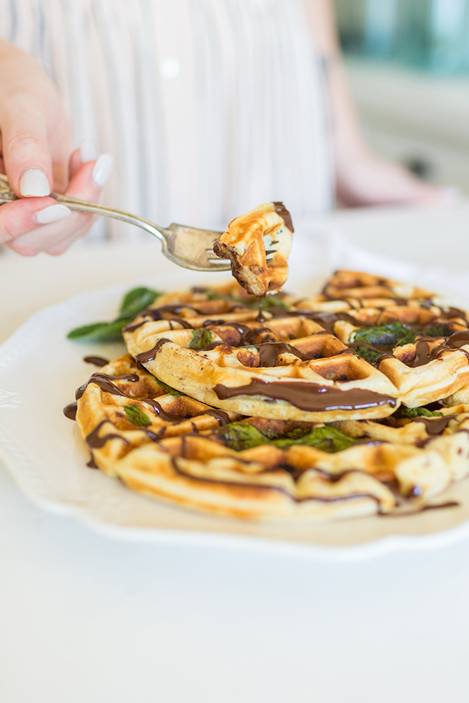Get the recipe for Lauren's mint chip chocolate drizzle waffles
