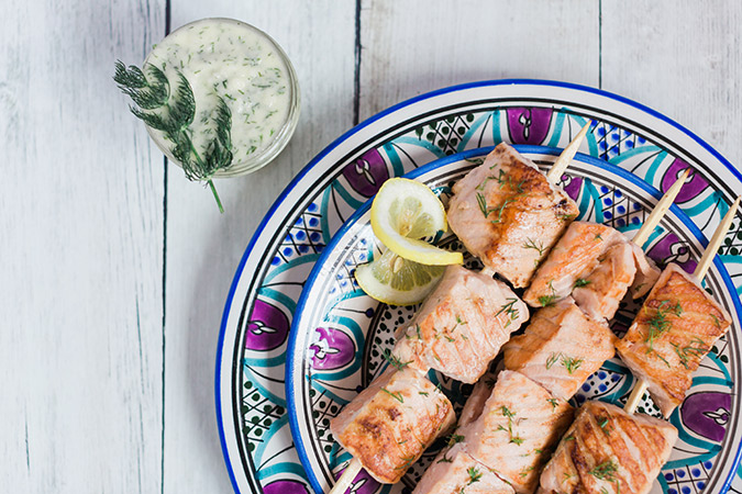 Get the recipe for these salmon kabobs on LaurenConrad.com