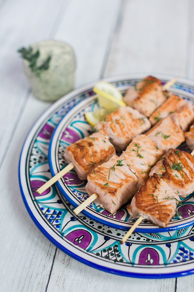 Delicious and light salmon kabobs