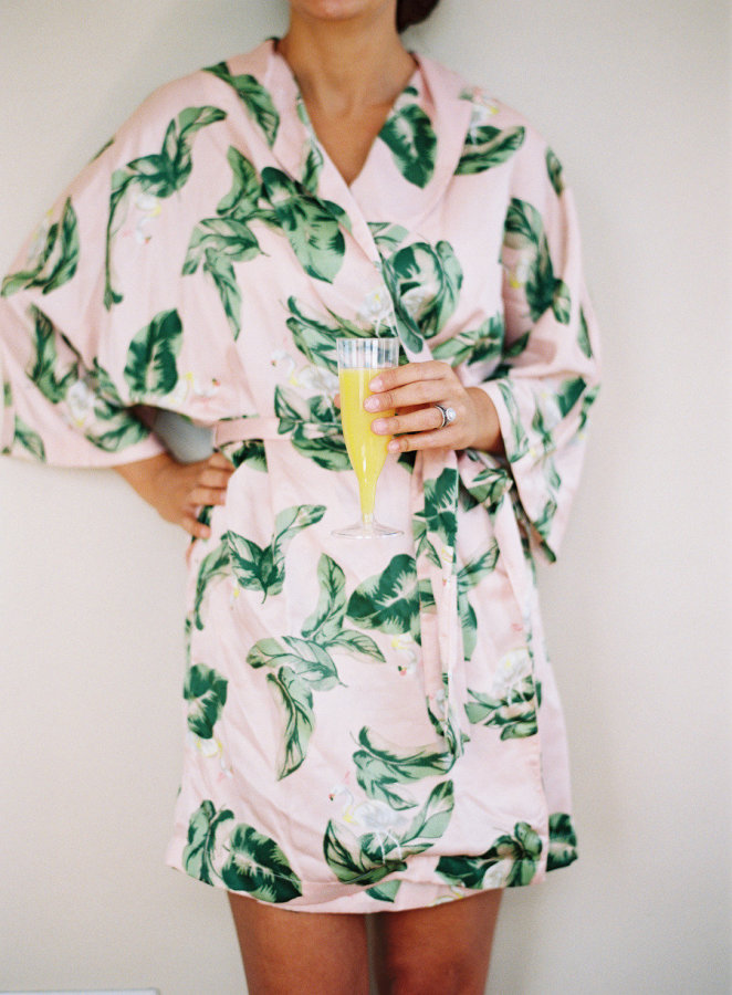 Palm print getting-ready robe