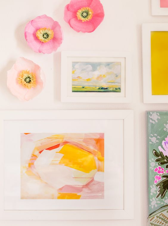 DIY paper poppy wall flowers via Appetite Paper