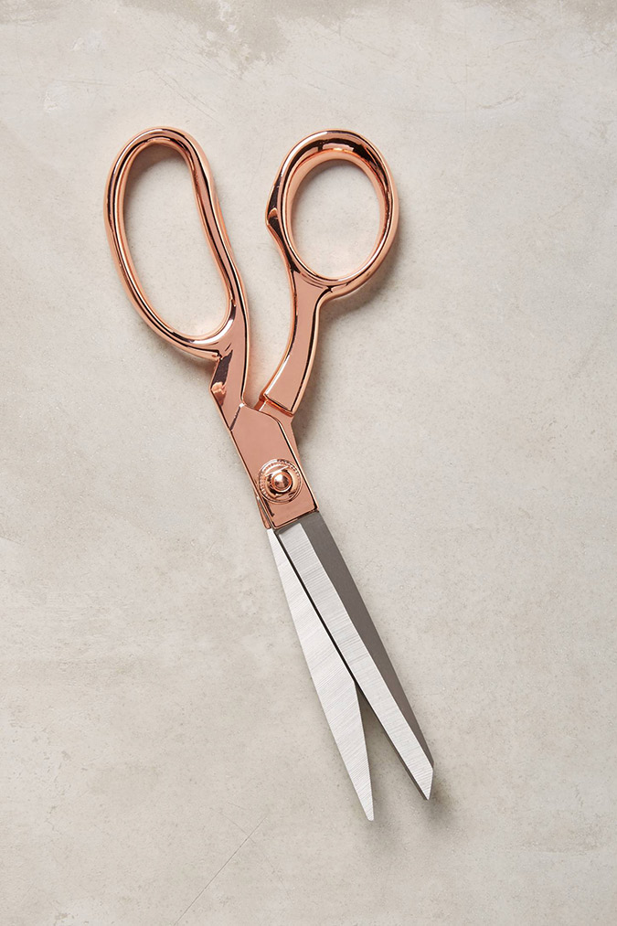 Anthropologie rose gold scissors