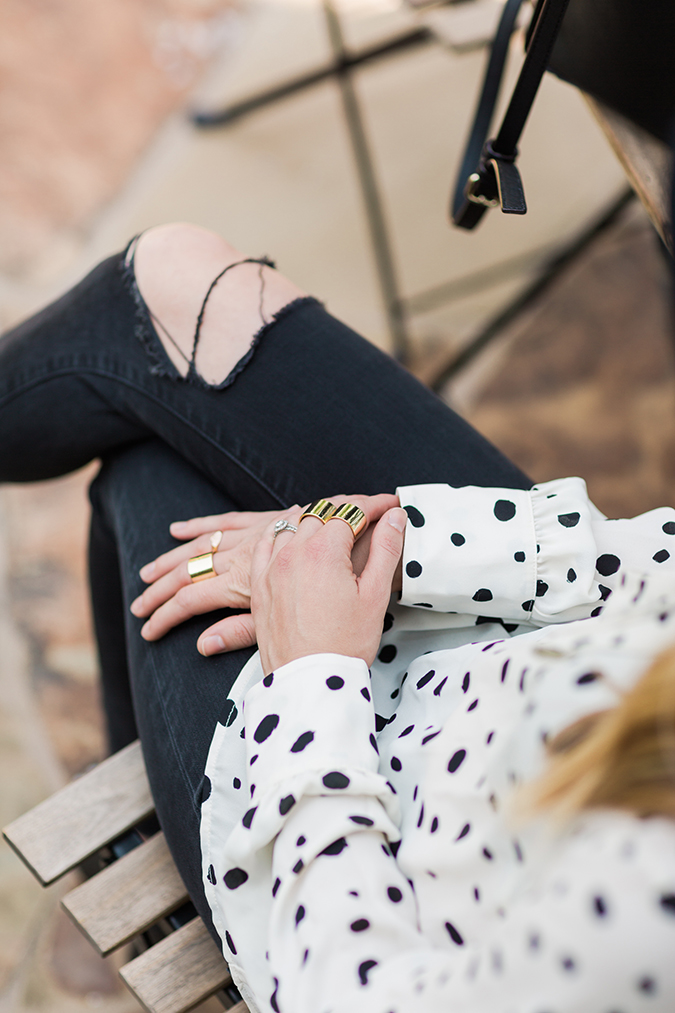 We're loving how one of our editors styled this pretty dotted blouse