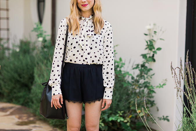 We can't get enough of this dotted Paper Crown blouse