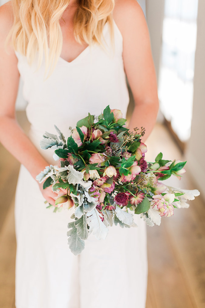 Bouquet Recipe Purple Hellebores Silver Stachys On Mums Dusty Miller Green Seeded Eucalyptus