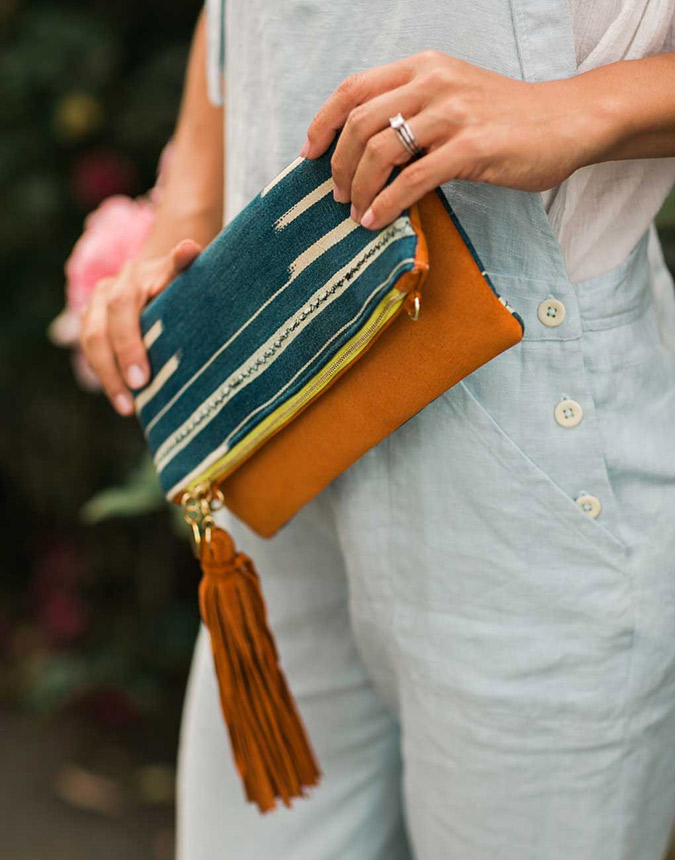 Indigo Fold Over Clutch