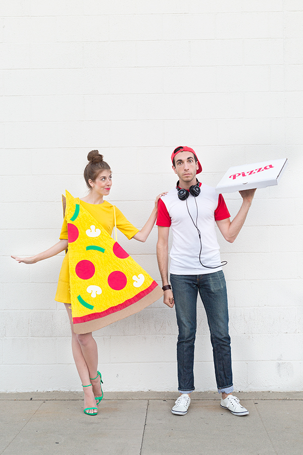 Pizza slice & delivery boy couples costume