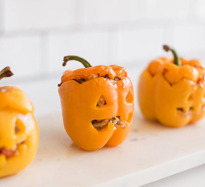 Hocus Pocus: Stuffed Bell Pepper Jack-o-Lanterns