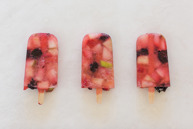 White Sangria Peach Berry Popsicles