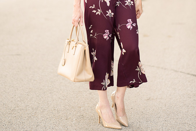 LC runway floral crop wide leg pants