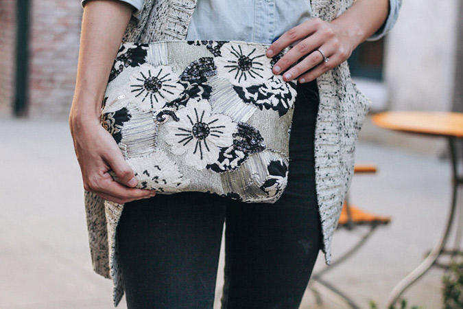 Large embroidered clutch