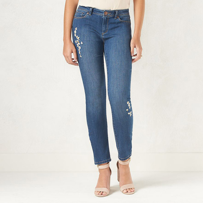 LC Lauren Conrad embroidered skinny jeans