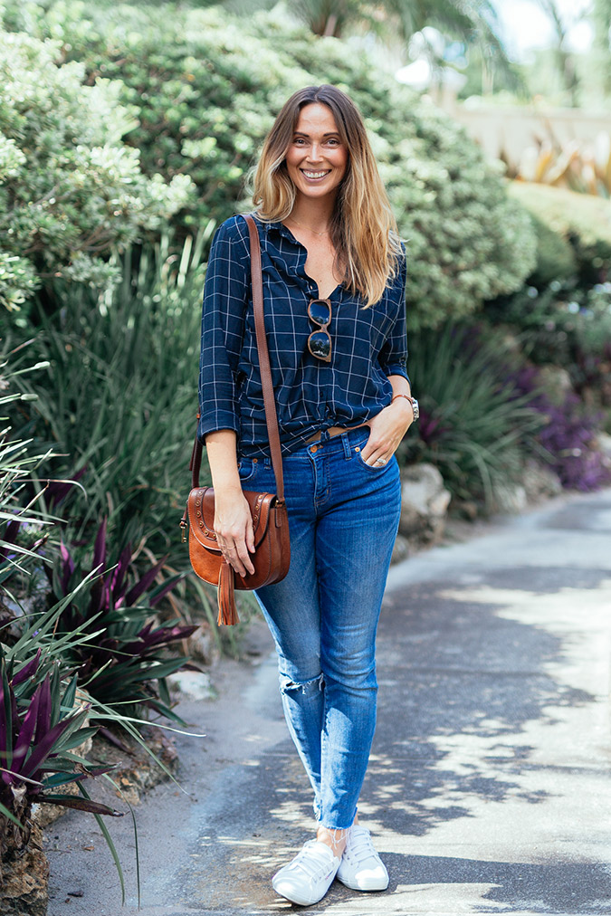 Plaid, jeans, and sneakers