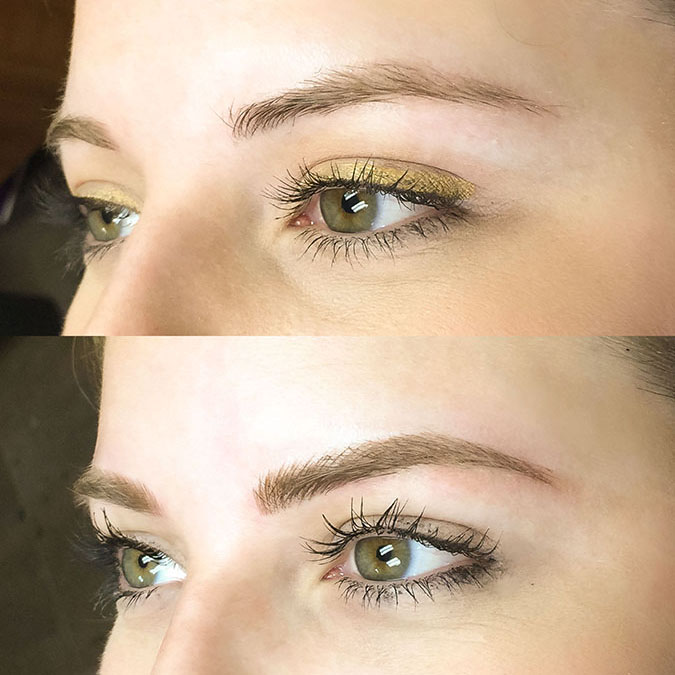 Before-and-after of microblading on one of Team LC's editors