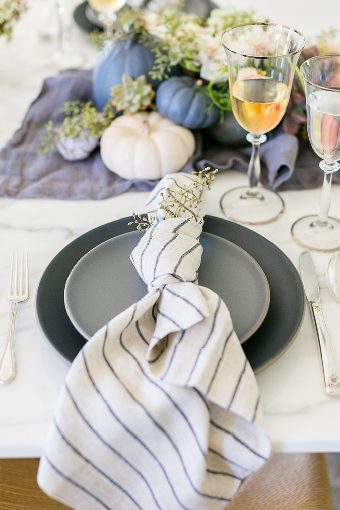 Kate Martindale's pastel Thanksgiving table set up