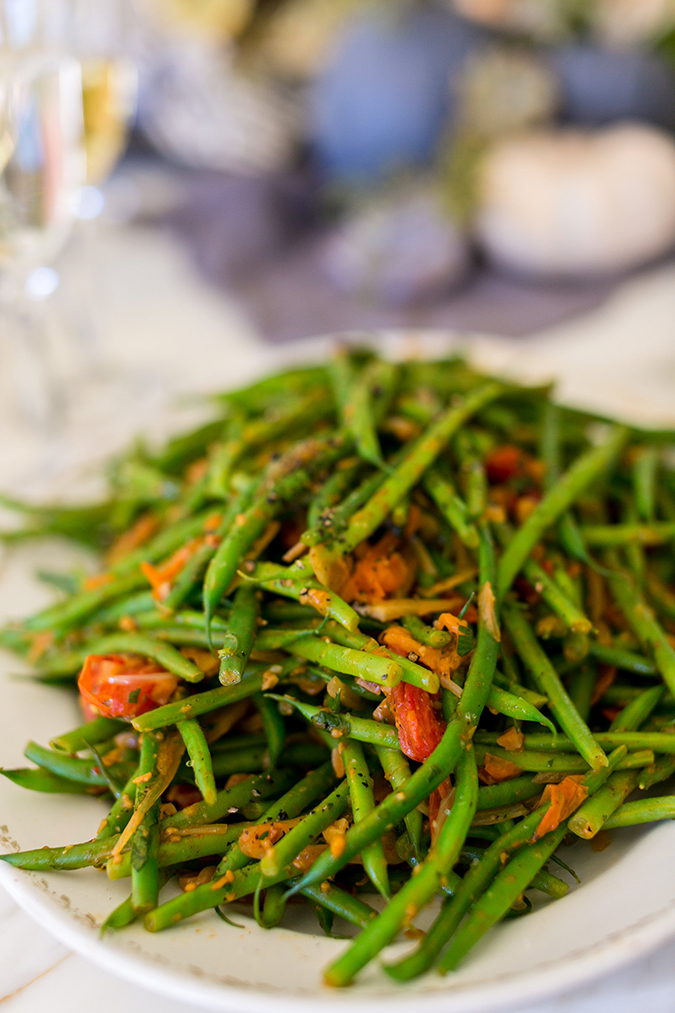 Haricot Vert with Tomato Romesco and Charred Shallots