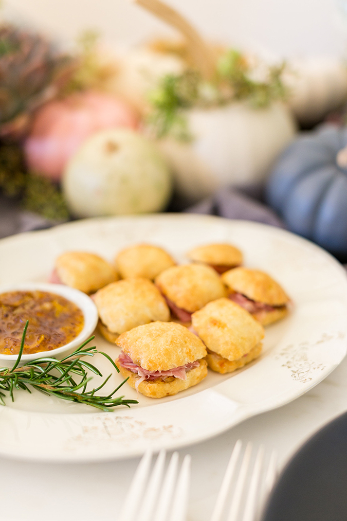Angel Biscuits with Broadbent's Country Ham and Kumquat Pommery Marmelade