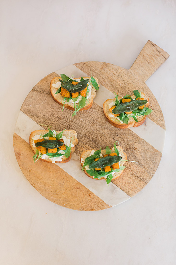 Homemade butternut squash crostini for fall
