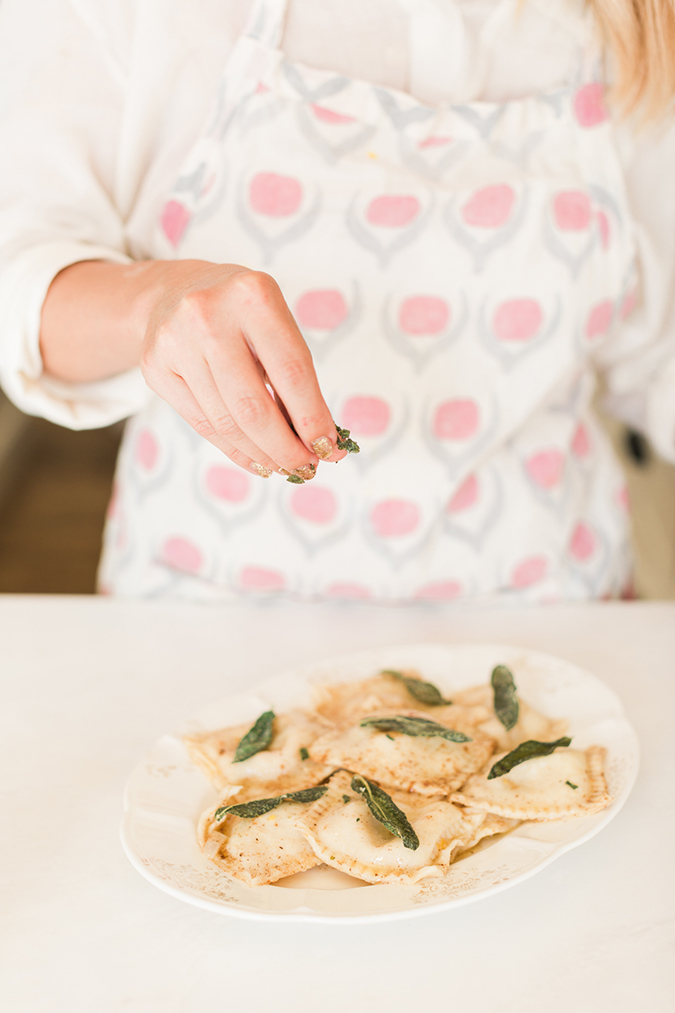 Savory butternut squash ravioli with brown butter sage sauce