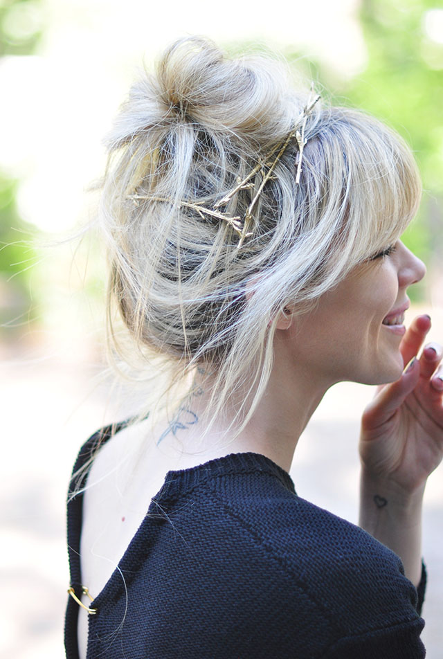 DIY gold branch hair pins via Love Maegan