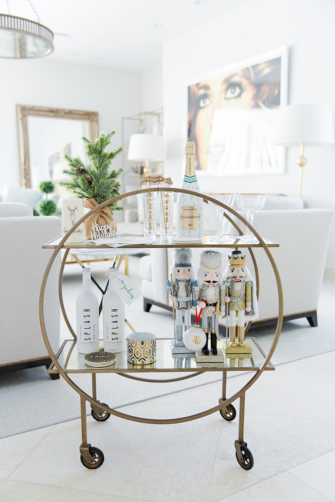 styled holiday bar cart