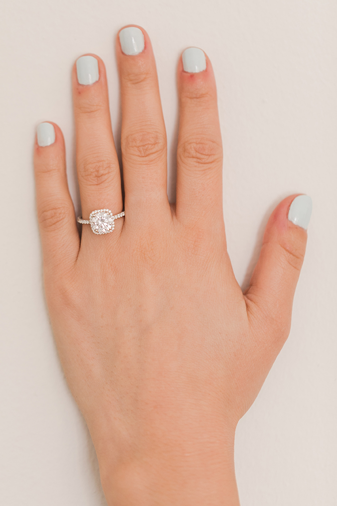 Icy blue mani + James Allen engagement ring