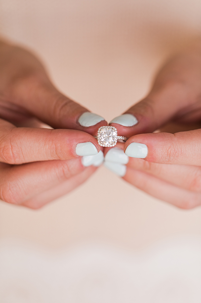 Icy blue mani + cushion cut engagement ring by James Allen