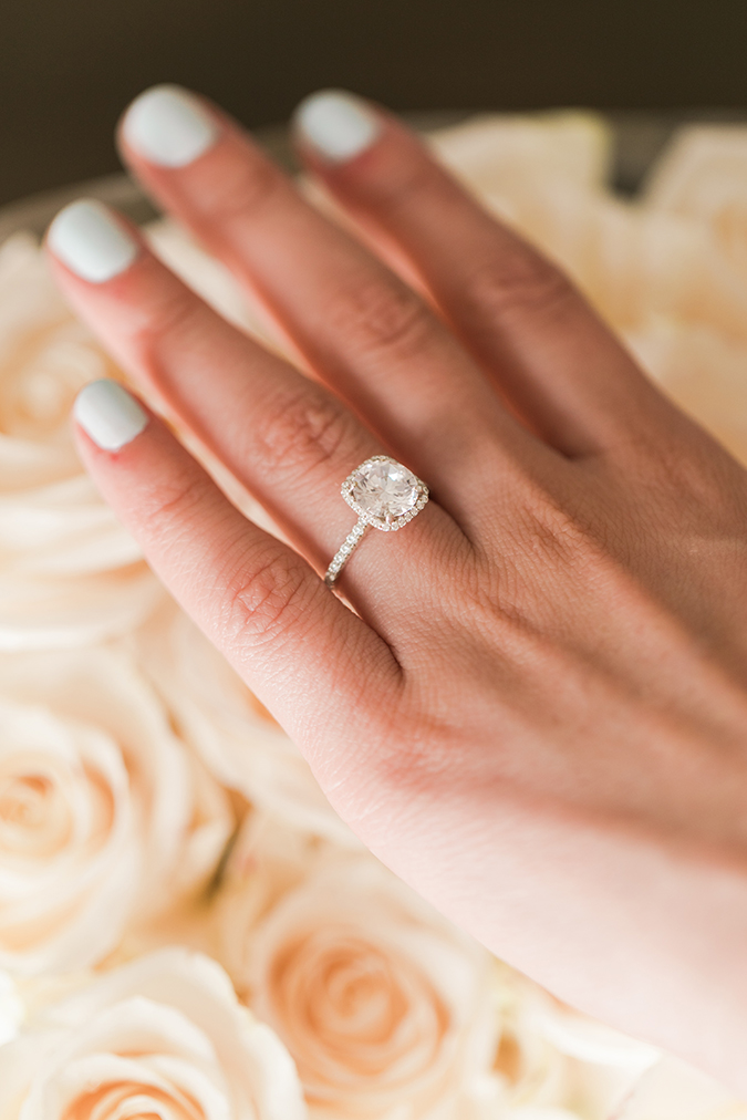 The softest blue hue mani + a cushion cut engagement ring