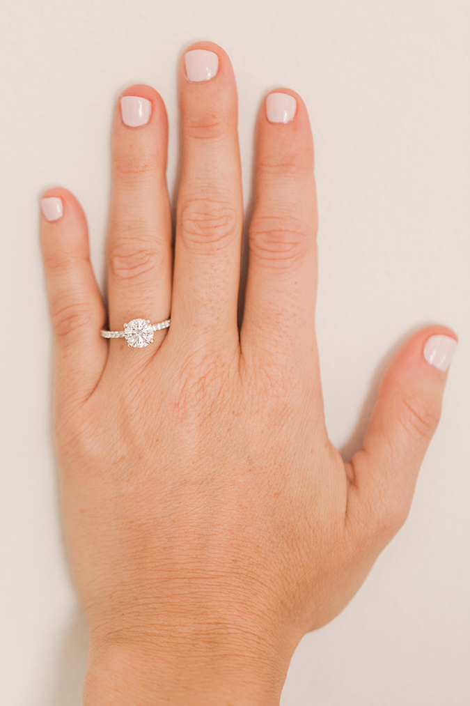 Pave band engagement ring + pale pink mani