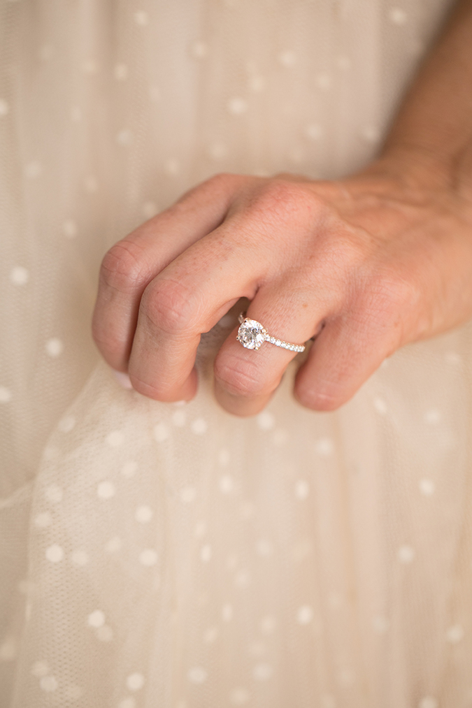 Pave setting engagement ring + the perfect pale pink mani