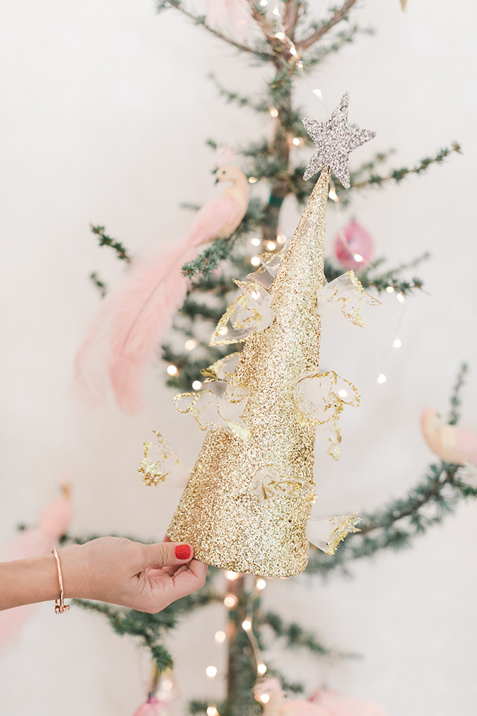 see how to make our resident prop stylists cute christmas tree topper - Glitter Christmas Tree