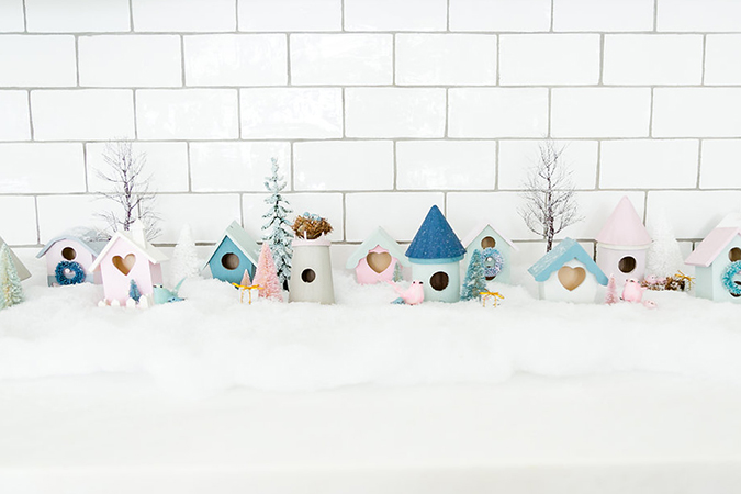DIY pastel winter village