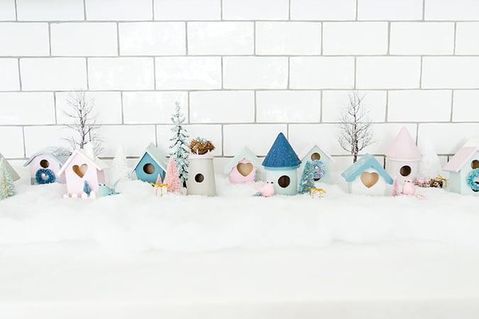 DIY pastel winter village