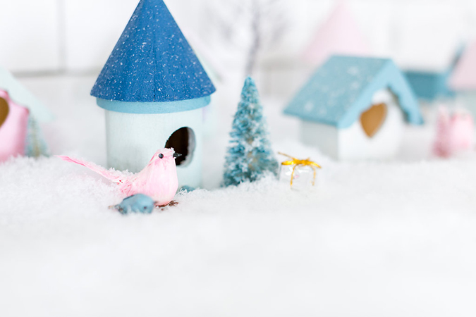 how to make your own holiday village for Christmas