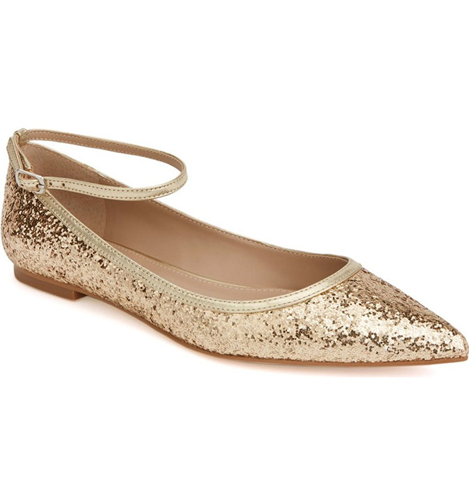 Shoes of Prey Glitter Gold Flats