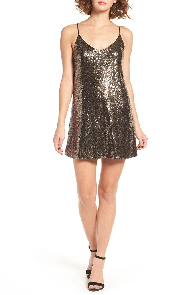 Storee Sequin Slip Dress