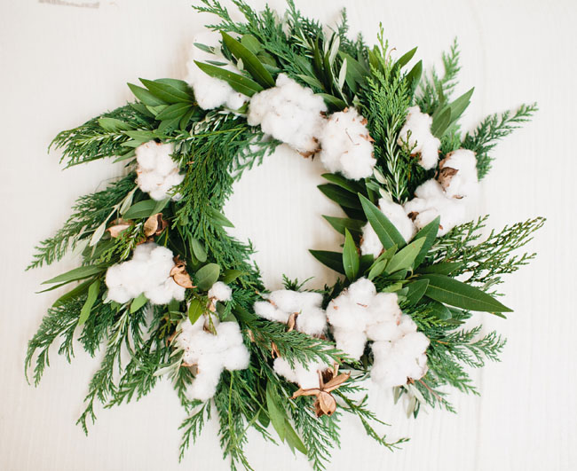 Fresh Cotton and Copper Wreath via Green Wedding Shoes